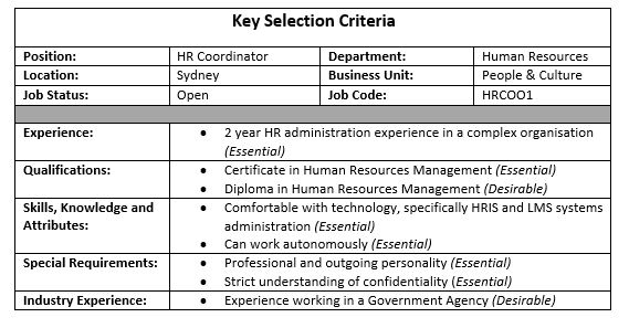 how to write selection criteria Key selection criteria in direct response to your requirements, i submit the following: demonstrated knowledge of initiatives in student learning including the.